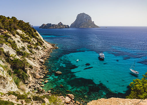 Clear waters on the Ibiza southern coast