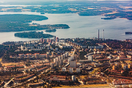 Stockholm suburb from above