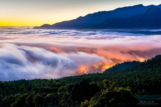 Clouds over caldera in La Palma, Canaries